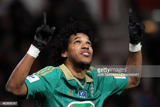 SaintEtienne's Brazilian forward Brandao celebrates after scoring a goal during the French Cup football match between Cannes and SaintEtienne at the...