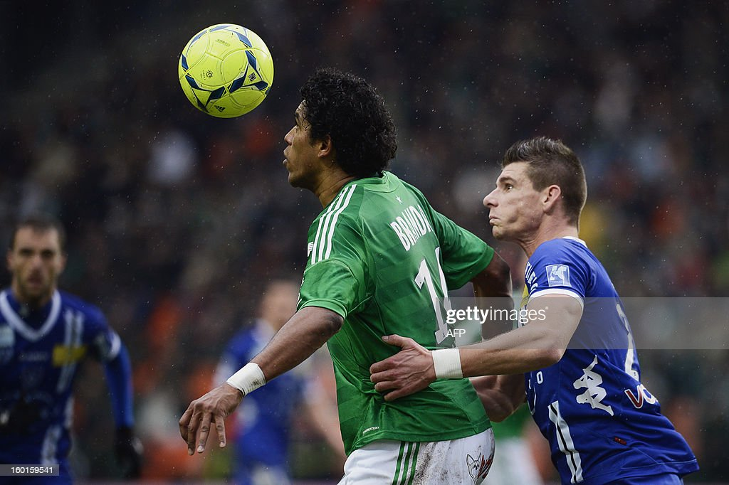 Saint-Etienne's Brazilian forward Brandao (L) vies with Bastia's French defender Jeremy Choplin (R) during the French L1 football match AS Saint-Etienne (ASSE) vs Bastia (SCB) on January 27, 2013, at the Geoffroy Guichard Stadium in Saint-Etienne, central France.