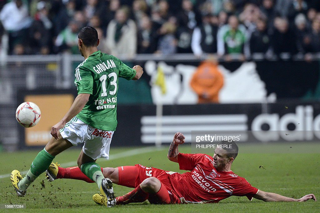 Saint-Etienne's French defender Faouzi Ghoulam fights for the ball with Valenciennes' French forward Anthony Le Tallec during the French L1 football match Saint-Etienne vs Valenciennes, on November 23, 2012 at the Geoffroy-Guichard stadium in Saint-Etienne.