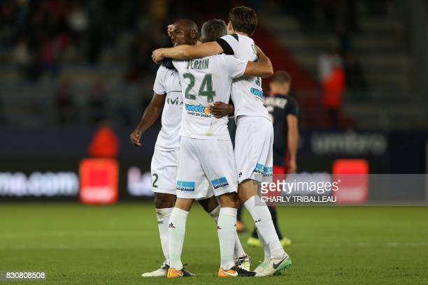 SaintEtienne's French defender Kévin ThéophileCatherine SaintEtienne's French defender Loic Perrin and SaintEtienne's Norwish midfielder Ole Selnaes...
