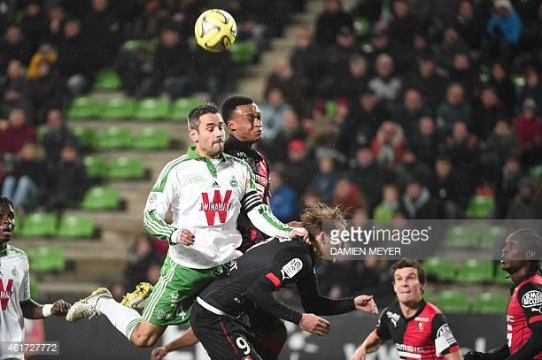 SaintEtienne's French defender Loic Perrin vies with Rennes' Switzerland midfielder Gelson Fernandez and Rennes' Swedish forward Ola Toivonen during...