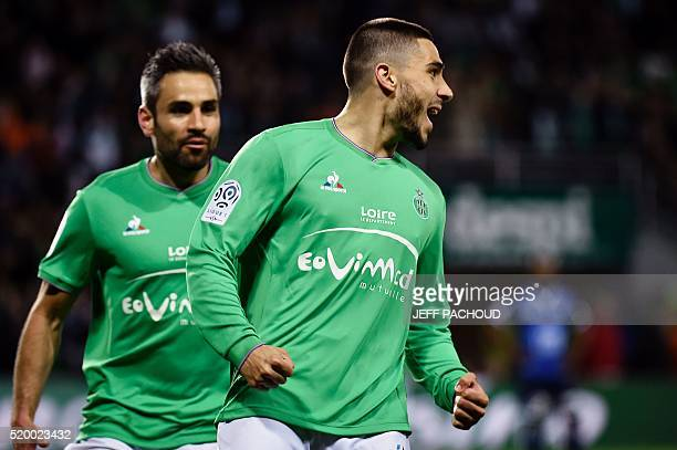 SaintEtienne's French forward Neal Maupay celebrates after scoring a goal during the L1 football match between SaintEtienne and Troyes on April 9 at...