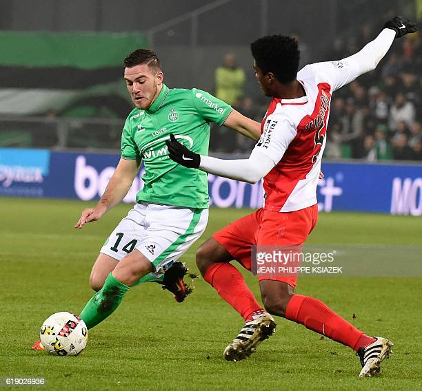 SaintEtienne's French forward Neal Maupay vies with Monaco's Brazilian defender Jemerson during the French L1 football match SaintEtienne vs Monaco...