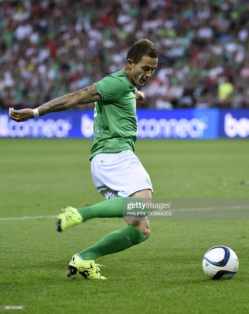 Saint-Etienne's French forward <a gi-track='captionPersonalityLinkClicked' href=/galleries/search?phrase=Nolan+Roux&family=editorial&specificpeople=5969784 ng-click='$event.stopPropagation()'>Nolan Roux</a> shoots during the UEFA Europa League third qualifying round, second leg football match between Romania's ASA 2013 Targu Mures and AS Saint-Etienne at the Geoffroy Guichard stadium in Saint-Etienne on August 6, 2015.