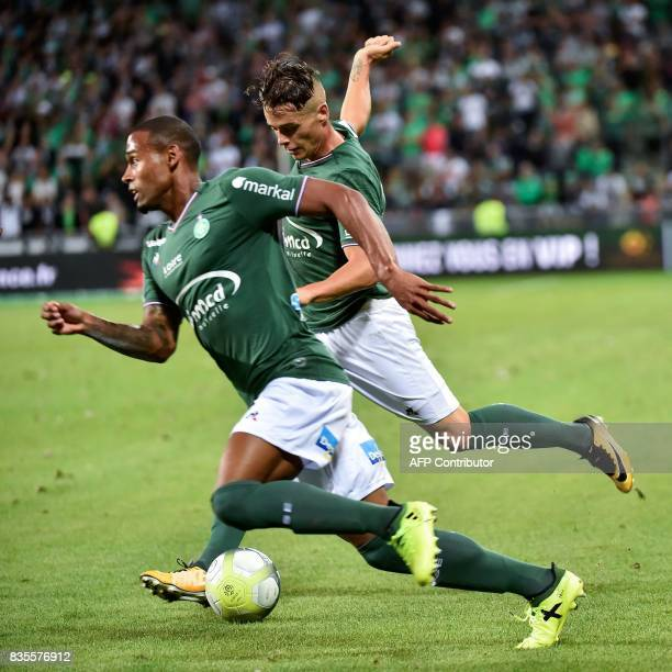 SaintEtienne's French forward Romain Hamouma kicks the ball during the French L1 football match between SaintEtienne and Amiens on August 19 at the...