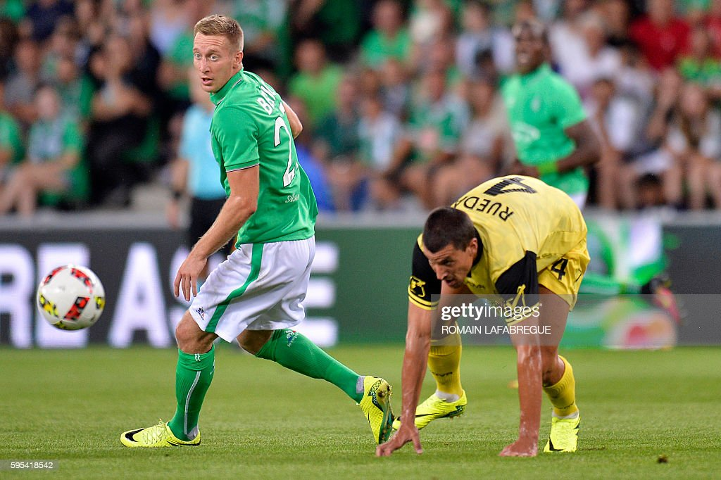 SaintEtienne's French forward Slovenian Robert Beric vies for the ball with Beitar Jerusalem's Spanish defender Jesus Rueda during the UEFA Europa...