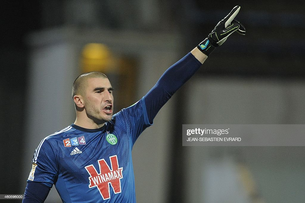 Saint-Etienne's French goalkeeper <a gi-track='captionPersonalityLinkClicked' href=/galleries/search?phrase=Stephane+Ruffier&family=editorial&specificpeople=4978820 ng-click='$event.stopPropagation()'>Stephane Ruffier</a> reacts during the French League Cup football match between Lorient and Saint-Etienne at the Moustoir stadium in Lorient, western France, on December 17, 2014.