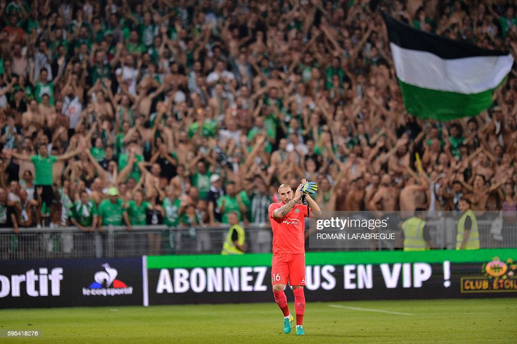 SaintEtienne's French goalkeeper Stephane Ruffier reacts during the UEFA Europa League playoff football match between AS SaintEtienne and Beitar...