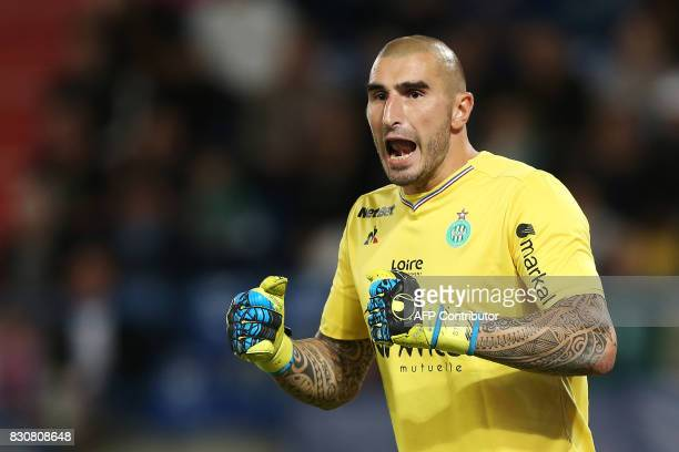 SaintEtienne's French goalkeeper Stéphane Ruffier reacts during the French L1 football match between Caen and SaintEtienne on August 12 at the Michel...