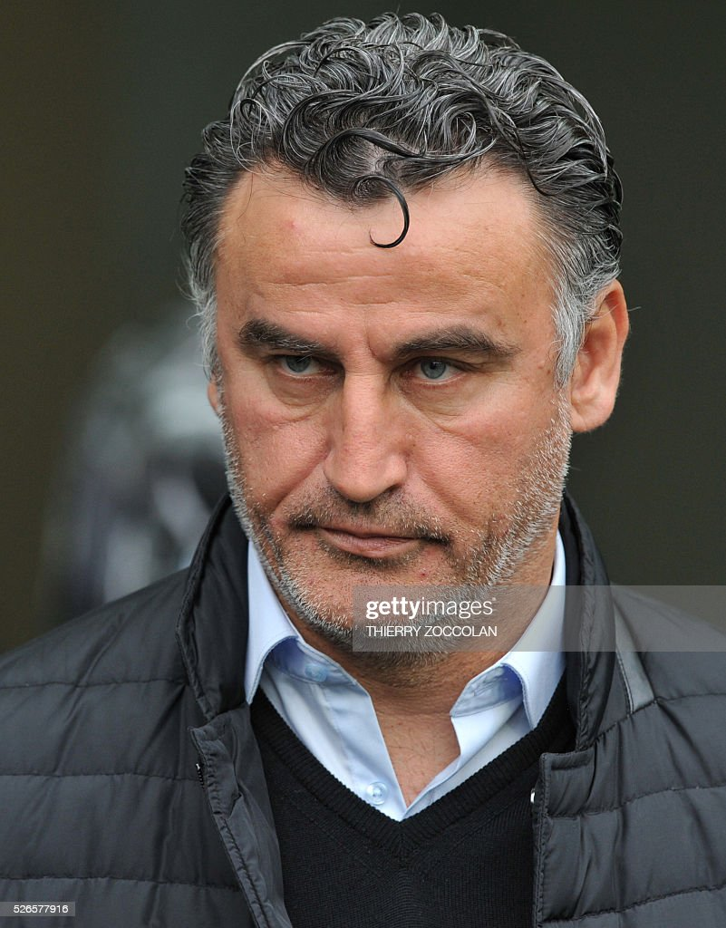 Saint-Etienne's French head coach Christophe Galtier attends the French L1 football match between Saint Etienne and Toulouse at the Geoffroy Guichard stadium in Saint Etienne, central France, on April 30, 2016.