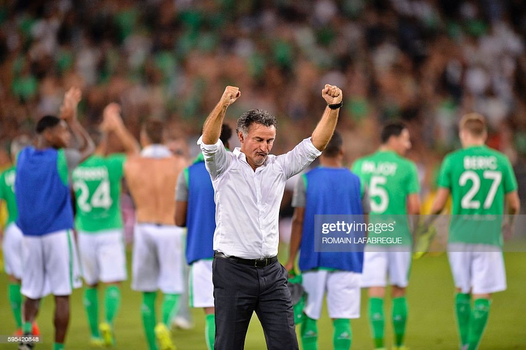 SaintEtienne's French head coach Christophe Galtier reacts during the UEFA Europa League playoff football match between AS SaintEtienne and Beitar...