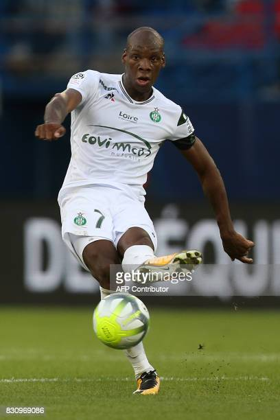 SaintEtienne's French midfielder Bryan Dabo passes the ball during the French L1 football match between Caen and SaintEtienne on August 12 at the...