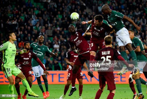 SaintEtienne's French midfielder Bryan Dabo scores a goal during the French Ligue 1 football match SaintEtienne vs Metz on October 14 at the Geoffroy...