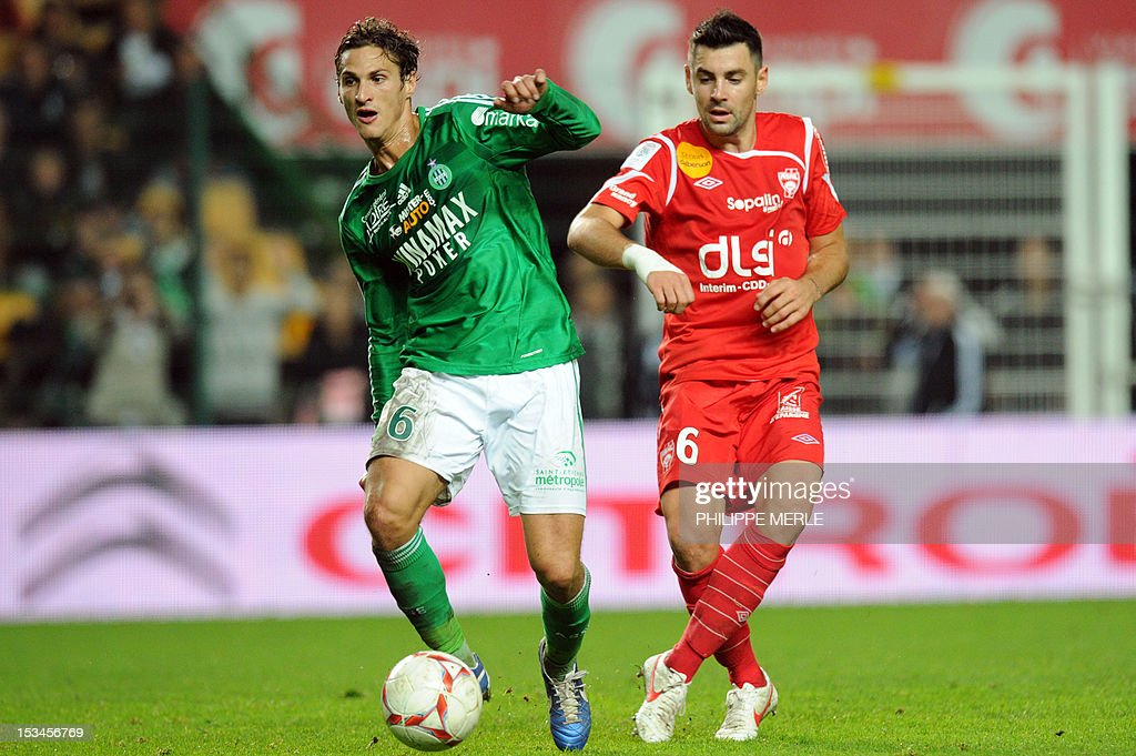 Saint-Etienne's French midfielder Jeremy Clement (L) vies with Nancy's French-Italian midfielder Thomas Mangani during the French L1 football match Saint-Etienne vs Nancy on October 5, 2012 at the Geoffroy-Guichard stadium in Saint-Etienne, central France.