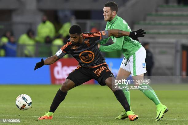 SaintEtienne's French midfielder Jordan Veretout vies with Lorient's Portuguese midfielder Carlos Miguel Cafu during the French L1 Football match...