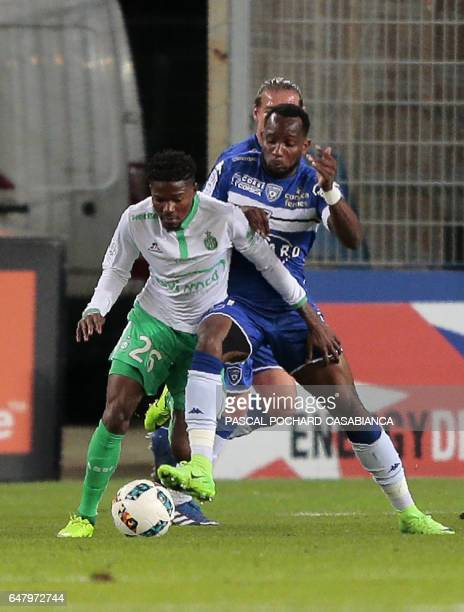 SaintEtienne's French midfielder Jorge Barbosa vies with Bastia's French midfielder Lenny Nangis during the French L1 football match Bastia against...
