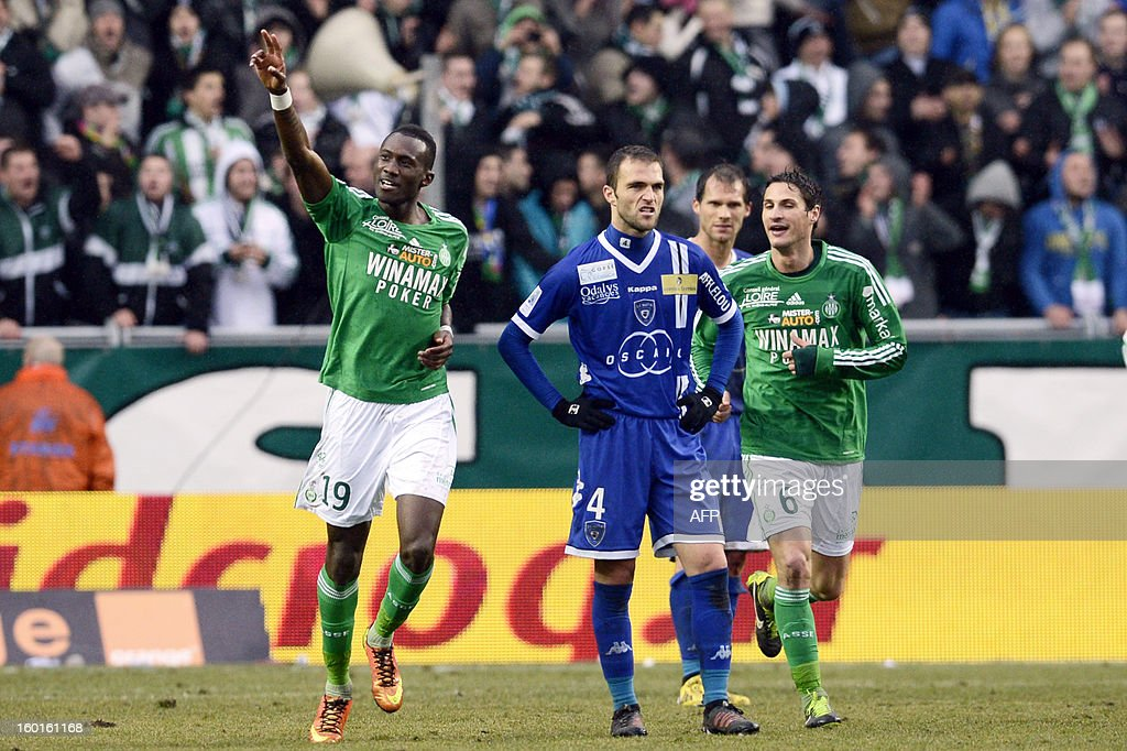 Saint-Etienne's French midfielder Josuha Guilavogui (L) celebrates after scoring a goal during the French L1 football match AS Saint-Etienne (ASSE) vs Bastia (SCB) on January 27, 2013, at the Geoffroy Guichard Stadium in Saint-Etienne, central France.