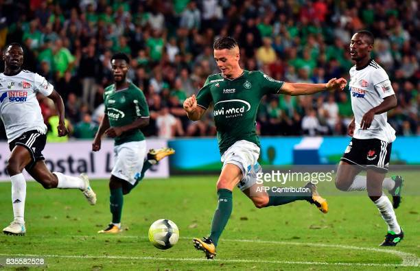 SaintEtienne's French midfielder Romain Hamouma drives the ball during the French L1 football match between SaintEtienne and Amiens on August 19 at...