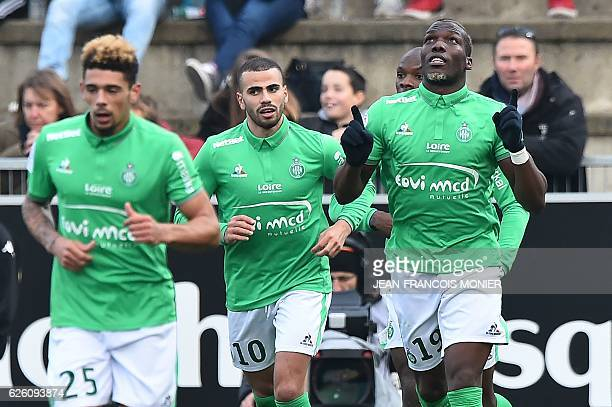 SaintEtienne's Guinean defender Florentin Pogba celebrates after scoring a goal during the French Ligue 1 football match between Angers and Saint...