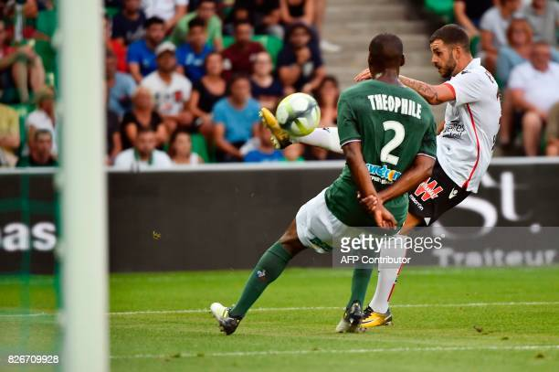 SaintEtienne's Ivorian midfielder Habib Maiga kicks the ball during the French L1 football match between SaintEtienne and Nice on August 5 at...