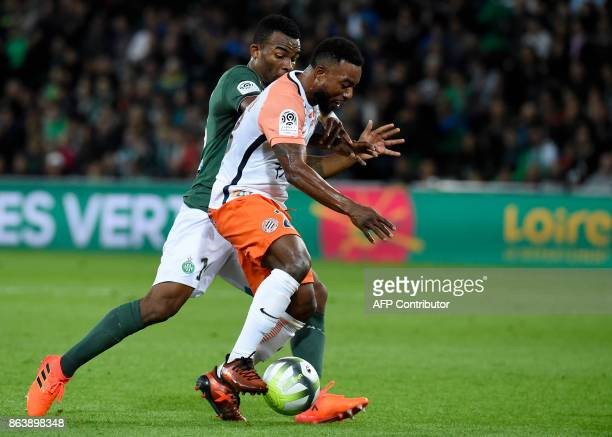 SaintEtienne's Ivorian midfielder Habib Maiga vies with Montpellier's French defender Nordi Mukiele during the French L1 football match SaintEtienne...