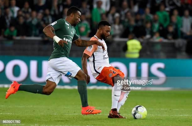 SaintEtienne's Ivorian midfielder Habib Maiga vies with Montpellier's Montpellier's French midfielder Stephane Sessegnon during the French L1...