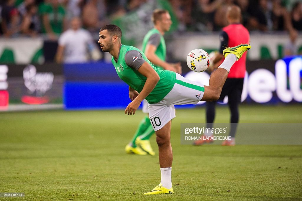 SaintEtienne's Moroccan forward Oussama Tannane warms up before the UEFA Europa League playoff football match between AS SaintEtienne and Beitar...