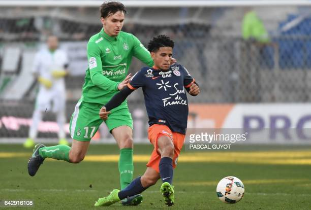 SaintEtienne's Norwegian midfielder Ole Kristian Selnaes fights for the ball with Montpellier's South African midfielder Keagan Dolly during the...