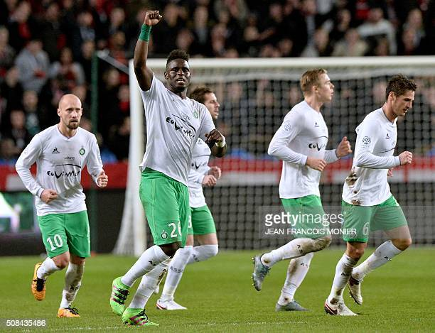 SaintEtienne's Senegalese defender Moustapha Bayal Sall celebrates after scoring a goal during the French L1 football match between Rennes and...