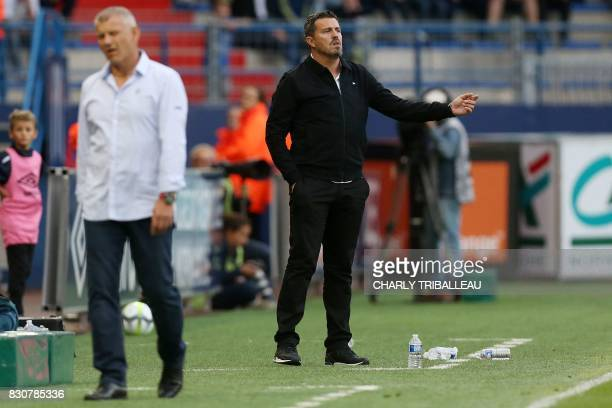 SaintEtienne's Spanish head coach Oscar Garcia gestures during the French L1 football match between Caen and SaintEtienne on August 12 at the Michel...