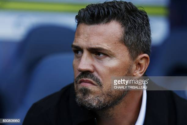 SaintEtienne's Spanish head coach Oscar Garcia looks on prior to the French L1 football match between Caen and SaintEtienne on August 12 at the...