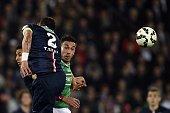 SaintEtienne's Turkish forward Mevlut Erding fights for the ball Paris SaintGermain's Brazilian defender Thiago Silva during the French Cup semifinal...