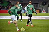 SaintEtienne's Turkish forward Mevlut Erding warms up prior to the French L1 football match between AS SaintEtienne and Olympique de Marseille on...
