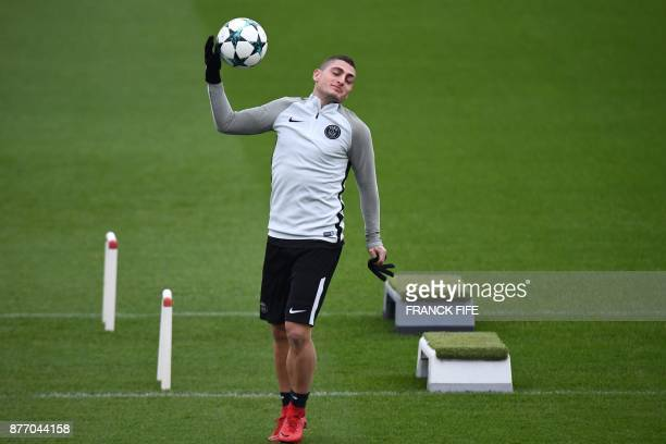SaintGermainenLaye west of Paris SaintGermain's Italian midfielder Marco Verratti gestures during a training session at the Camp des Loges training...
