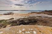 Sandy beach at low tide. Saint Malo. France. Brittany
