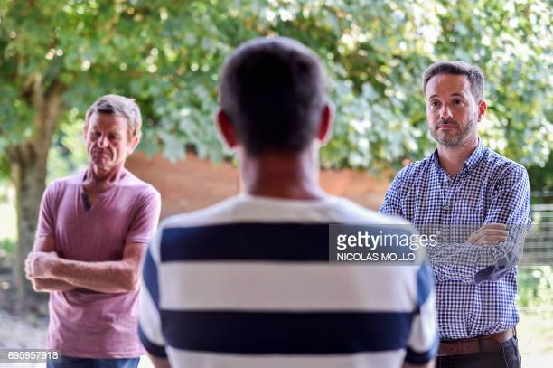 SaintMartindeSeignanx' mayor Lionel Causse and French candidate for La Republique en Marche party for the legislative elections visits an...