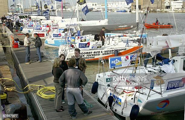 vue partielle prise le 01 avril 2005 de voiliers amarres dans le port de SaintNazaire qui prendront le depart le 03 avril prochain de la 1ere edition...