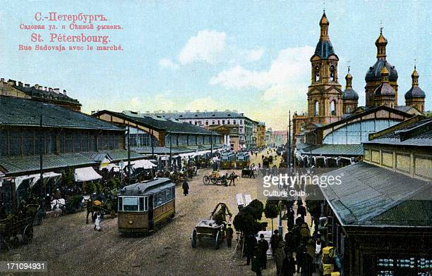 SaintPetersburg early 20th century SaintPetersburg early 20th century Sadovaya Street and the market Colourised photographic postcard
