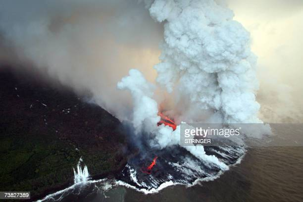 Aerial view taken 06 April 2007 near Tremblet in the French oversea island of La Reunion of lava coming from the Piton de la Fournaise volcano...