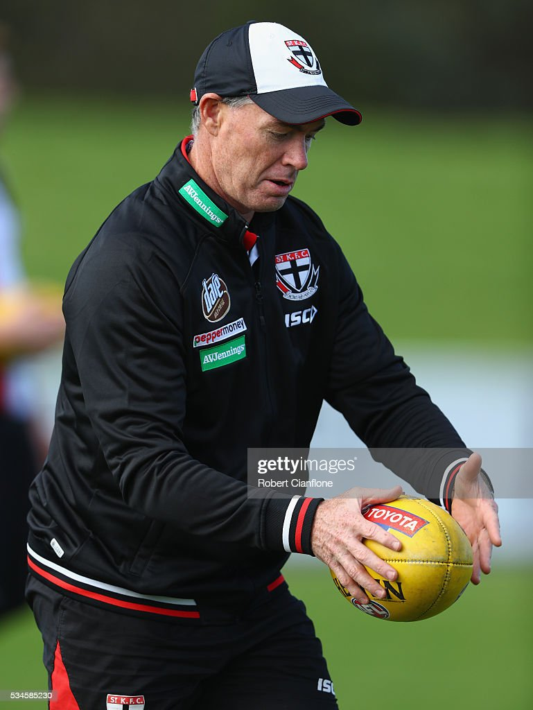 Saints coach Alan Richardson controls the ball during a St Kilda Saints AFL training session at Moorabbin Oval on May 27, 2016 in Melbourne, Australia.