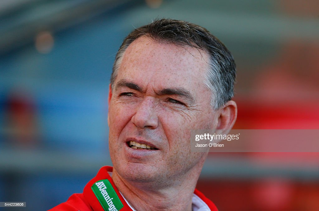 Saints coach Alan Richardson during the round 15 AFL match between the Gold Coast Suns and the St Kilda Saints at Metricon Stadium on July 2, 2016 in Gold Coast, Australia.