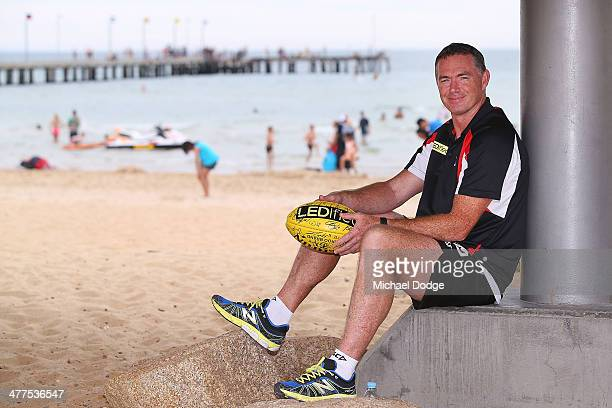 Saints coach Alan Richardson poses during a St Kilda Saints AFL Fan Day at Frankston Foreshore on March 10 2014 in Melbourne Australia