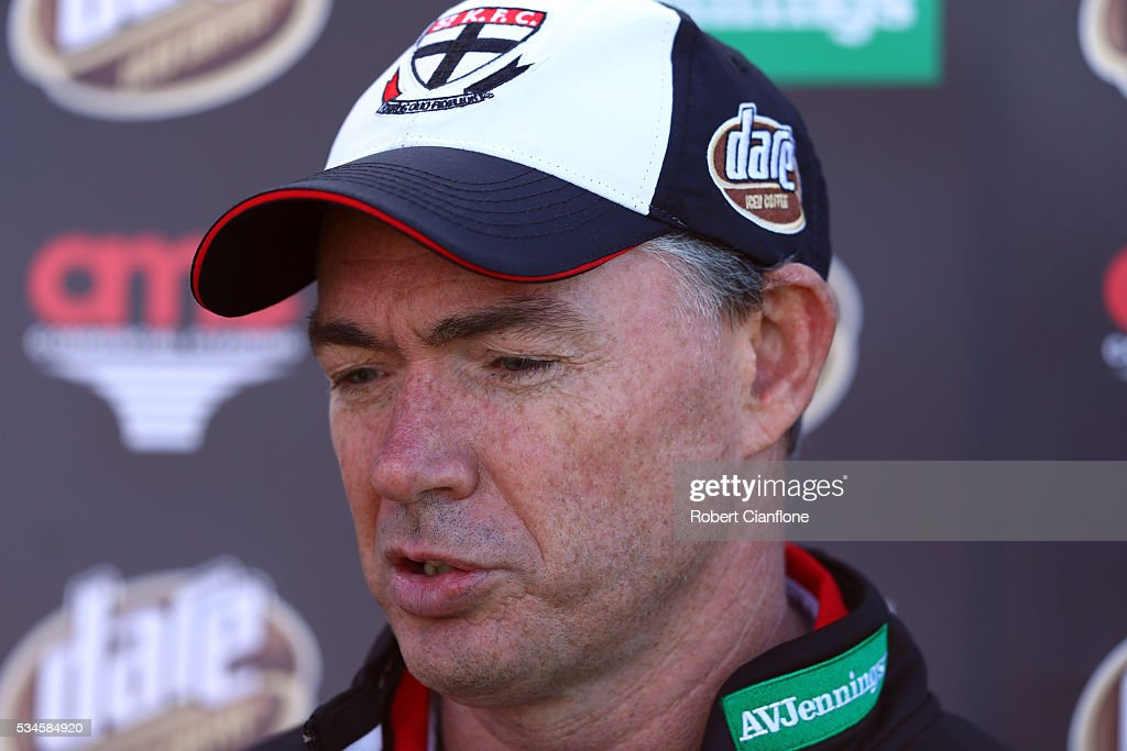Saints coach Alan Richardson speaks to the media during a St Kilda Saints AFL training session at Moorabbin Oval on May 27, 2016 in Melbourne, Australia.