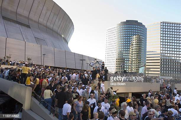 Saints fans outside the Louisiana Superdome prior to the Monday Night Football game between the Atlanta Falcons and New Orleans Saints on September...