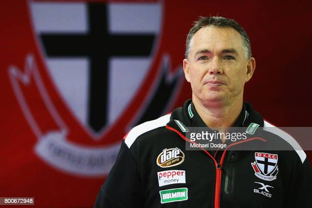 Saints haead coach Alan Richardson walks out during the round 14 AFL match between the St Kilda Saints and the Gold Coast Suns at Etihad Stadium on...