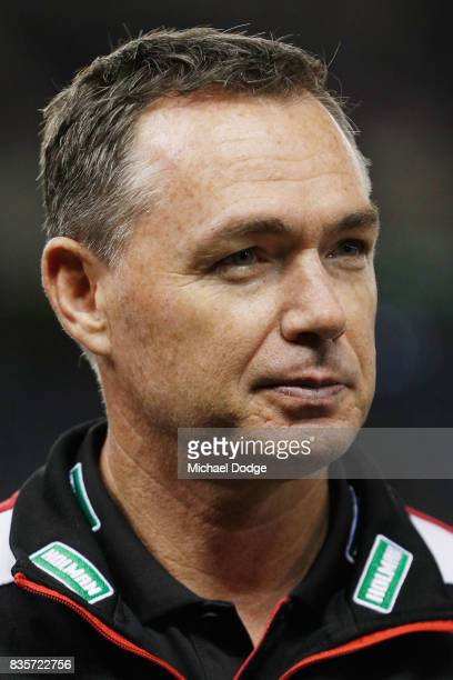 Saints head coach Alan Richardson looks upfield during the round 22 AFL match between the St Kilda Saints and the North Melbourne Kangaroos at Etihad...