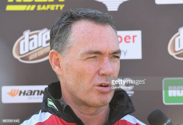 Saints head coach Alan Richardson speaks to the media during a St Kilda Saints AFL training session at Trevor Barker Beach Oval on May 12 2017 in...