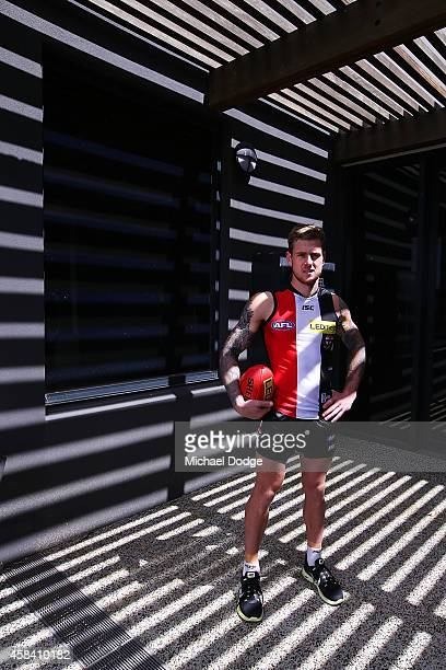 Saints newest recruit Tim Membrey poses during a StKilda Saints AFL media session at Linen House Oval on November 5 2014 in Melbourne Australia