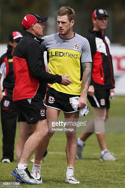 Saints newest recruit Tim Membrey talks with coach Alan Richardson during a StKilda Saints AFL training session at Linen House Oval on November 5...