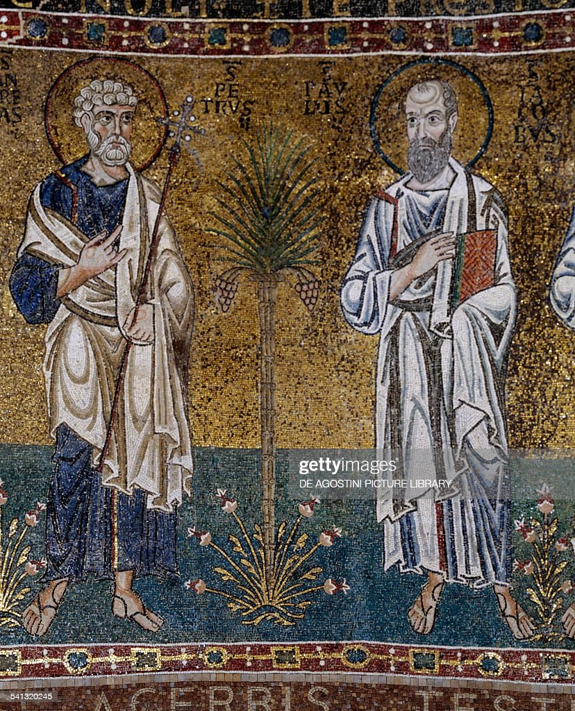 Saints Peter and Paul, mosaic by the Venetian-Ravenna school, 12th century, apse of Santa Maria, Trieste Cathedral, Trieste, Friuli-Venezia Giulia, Italy.